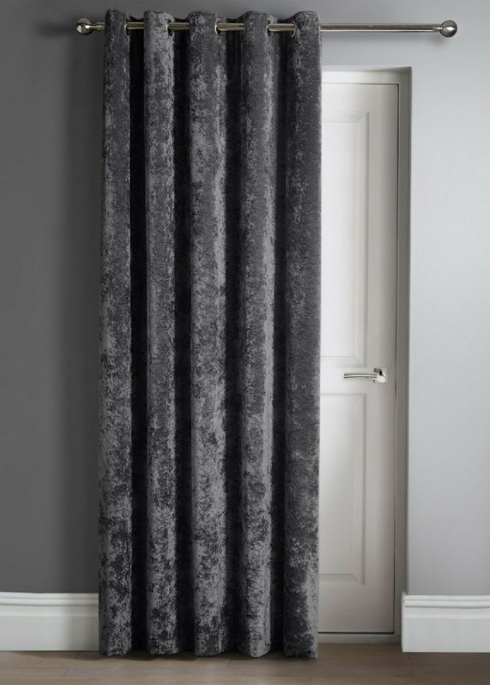 "Contemporary Crushed Velvet Ring Top Eyelet One Door Curtain Panel, 46"" X 84"" Charcoal"